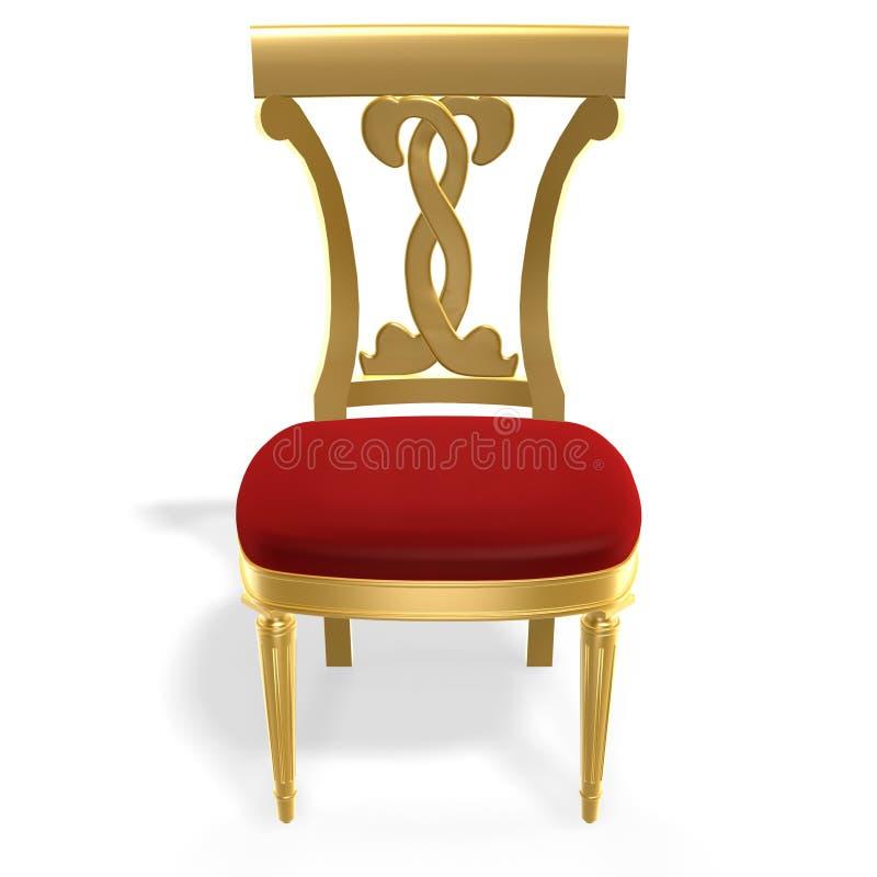 Cadeira real dourada ilustração stock