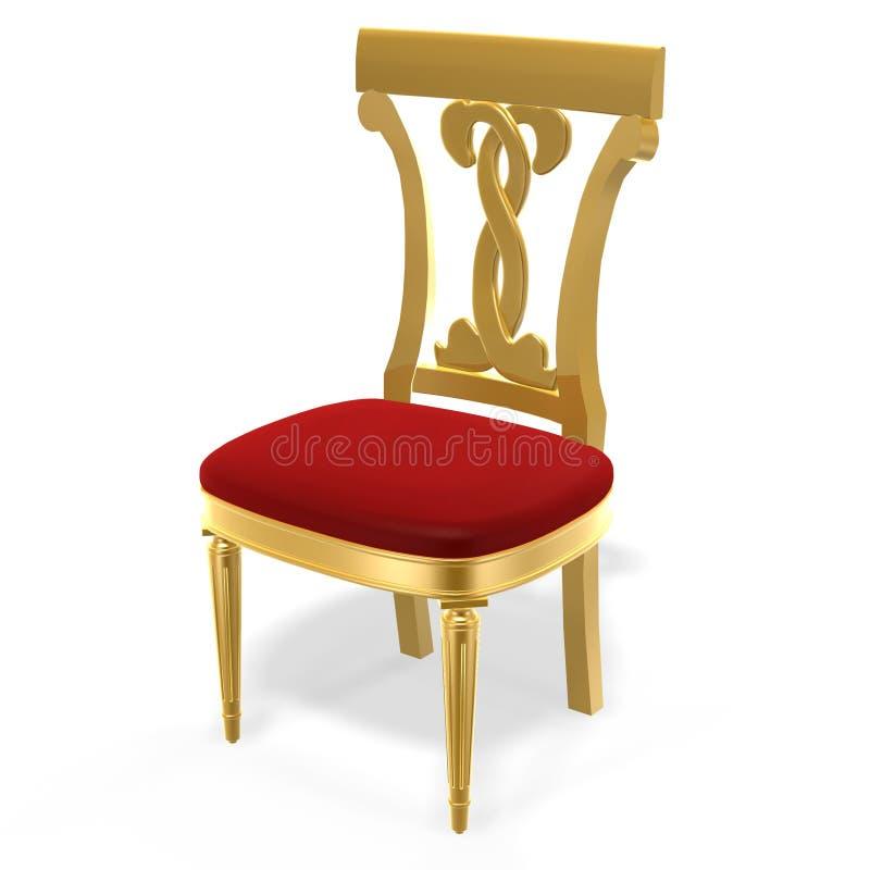 Cadeira real dourada ilustração royalty free