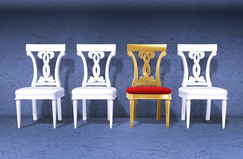 Cadeira real dourada de encontro a wal ilustração do vetor