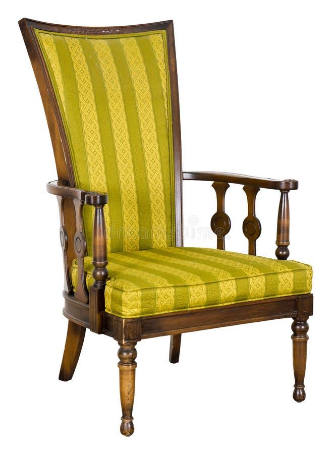 Cadeira retro antiga velha isolada no branco foto de stock