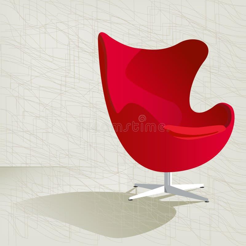Cadeira retro vermelha do ovo 50s ilustração stock
