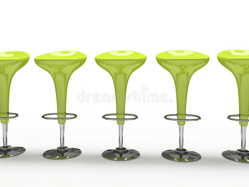 Cadeira verde à moda do bar isolada no fundo preto ilustração stock