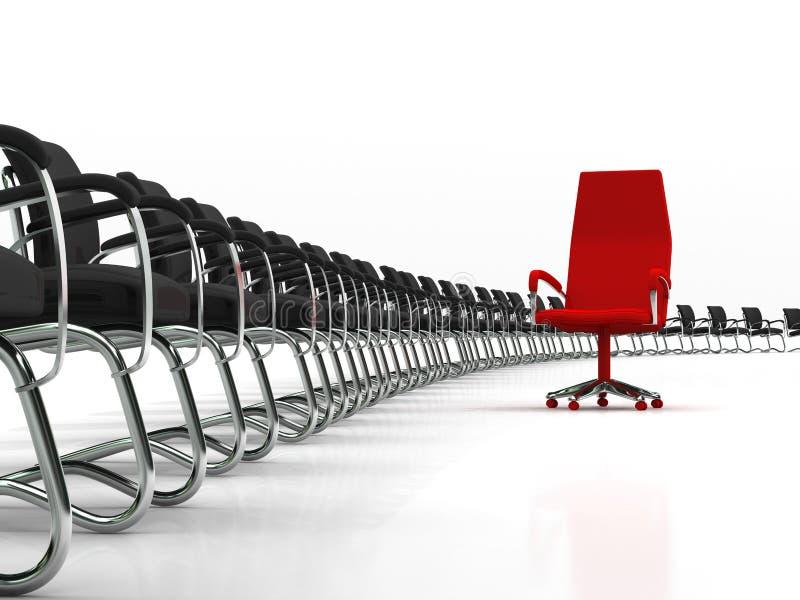 Cadeira vermelha do líder com grande grupo de cadeiras pretas ilustração royalty free