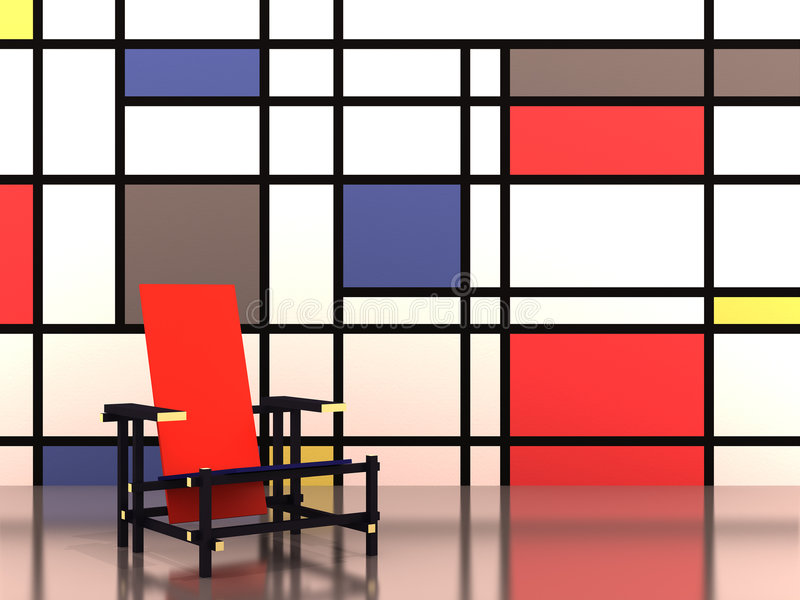 Cadeira vermelha e azul ilustração stock