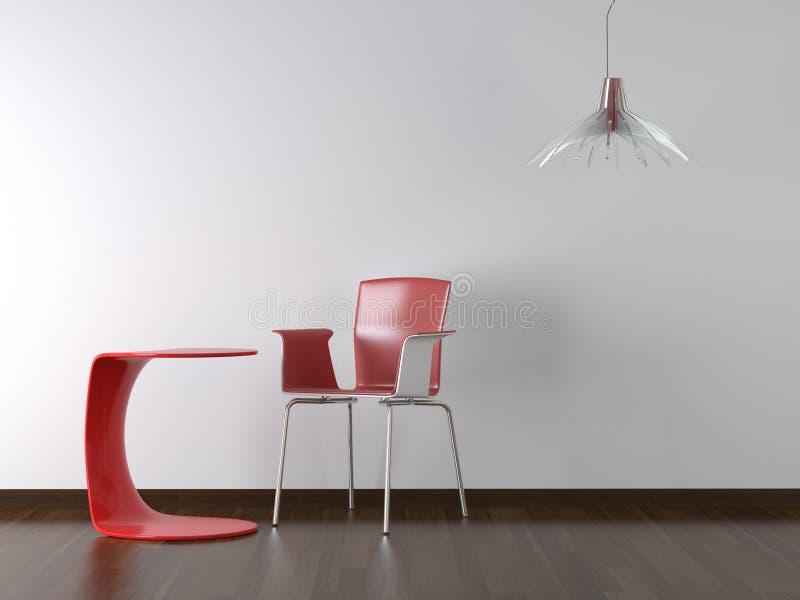 Cadeira vermelha e tabela do projeto interior fotos de stock