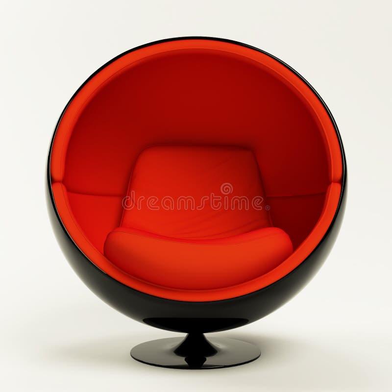 Cadeira vermelha moderna da esfera isolada no fundo branco ilustração royalty free
