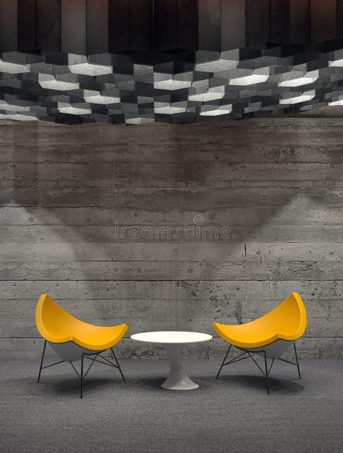 Cadeiras amarelas modernas e tabela branca pequena na sala ilustração royalty free