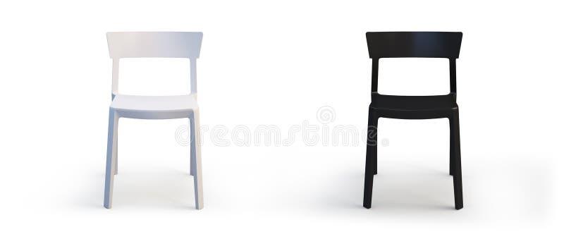 Cadeiras brancas e pretas modernas 3d rendem ilustração stock