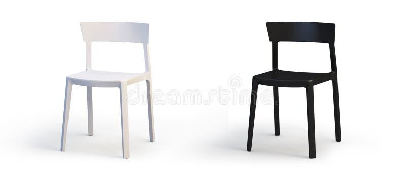 Cadeiras brancas e pretas modernas 3d rendem ilustração do vetor