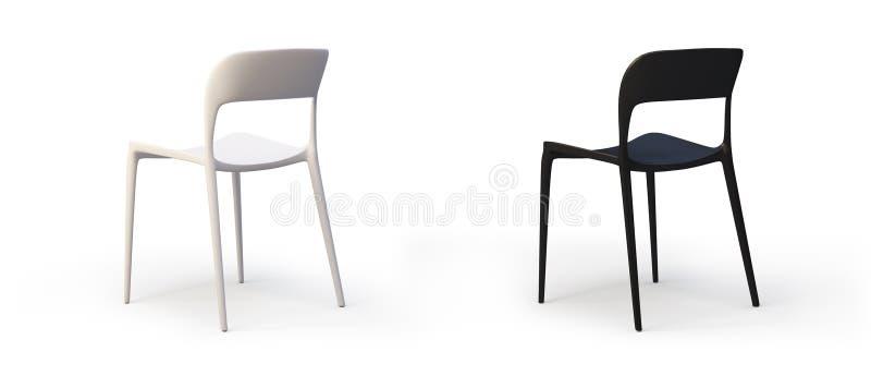Cadeiras brancas e pretas modernas 3d rendem ilustração royalty free