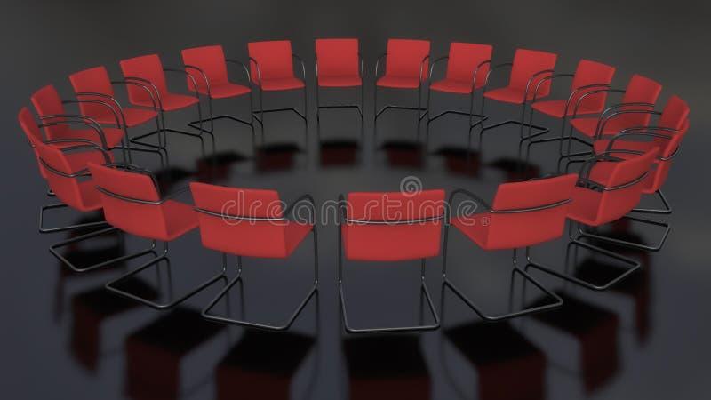 Cadeiras colocadas em um círculo ilustração do vetor
