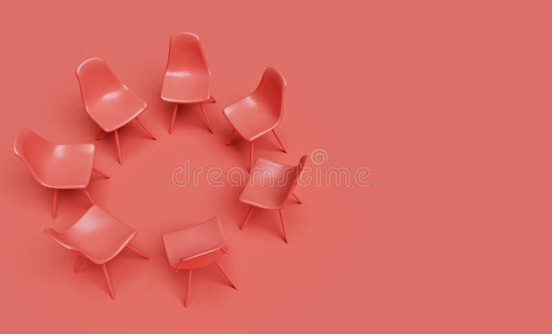 Cadeiras coloridas corais rendi??o 3d ilustração royalty free