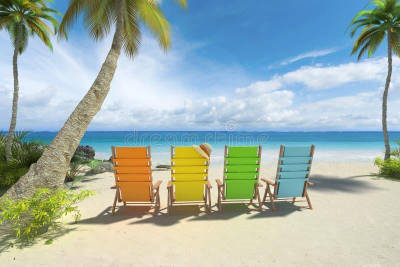 Cadeiras coloridas na praia ilustração stock