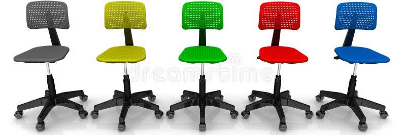 Cadeiras coloridos do escritório ilustração stock