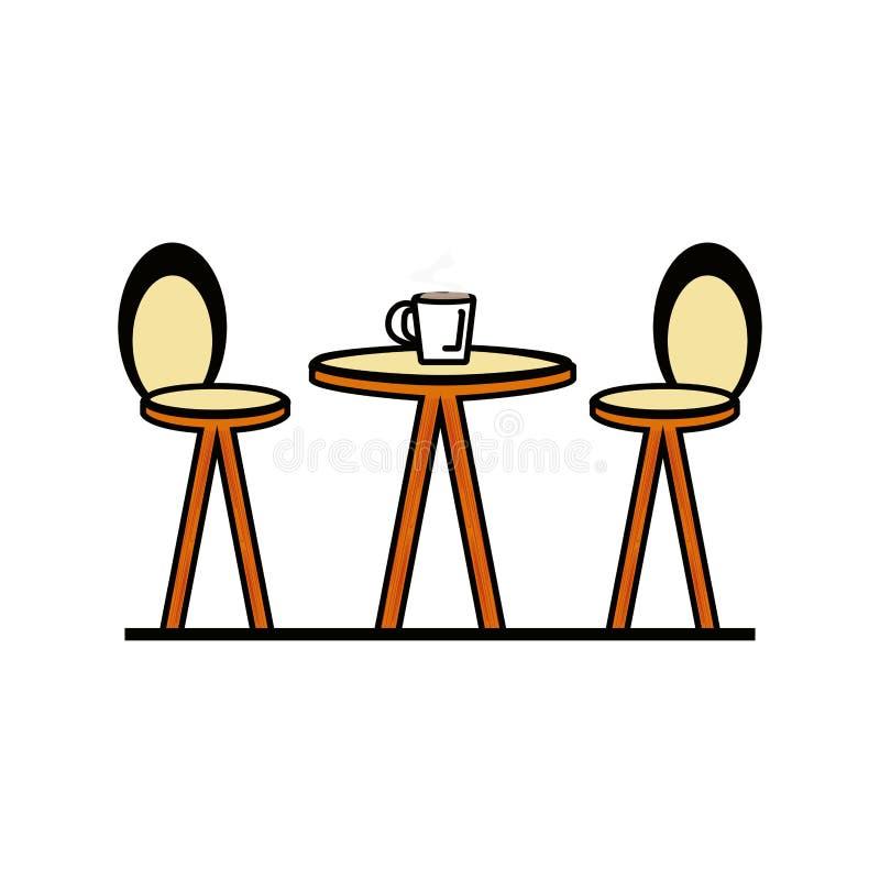 Cadeiras com ?cone isolado tabela ilustração stock