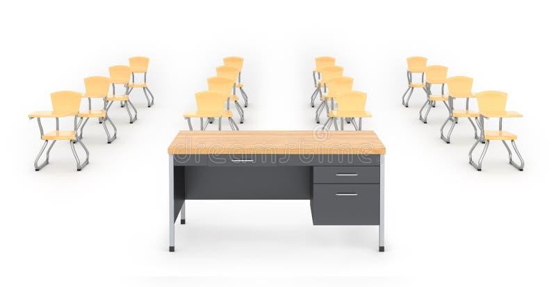 Cadeiras da mesa e da escola no fundo branco, ilustração 3D ilustração stock