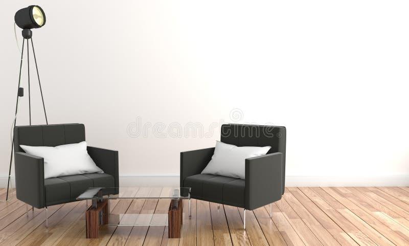 Cadeiras da sala de visitas dois e vidro da tabela Na parede vazia 3d que rednering ilustração royalty free