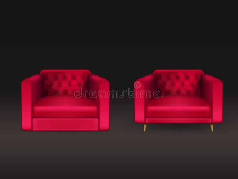 Cadeiras de clube do vetor realístico de couro vermelho ilustração stock