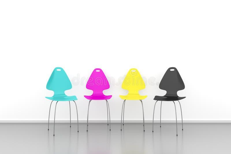 Cadeiras de CMYK ilustração royalty free