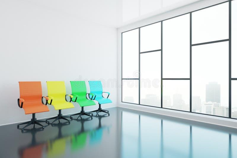 Cadeiras de giro no lado da sala ilustração stock