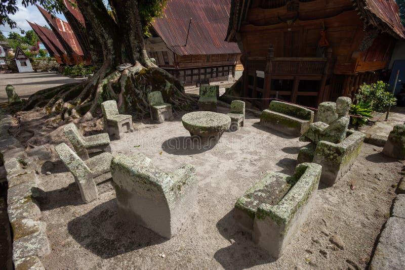 Cadeiras de pedra de Ambarita imagens de stock royalty free