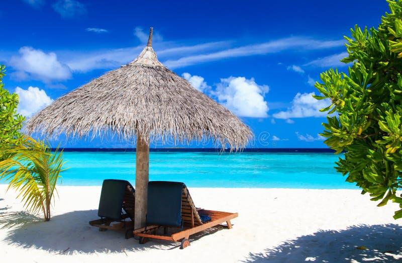 Cadeiras de praia na praia tropical imagem de stock