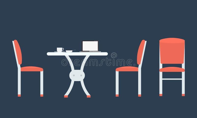 Cadeiras de tabela com vista dianteira e lateral ilustração stock