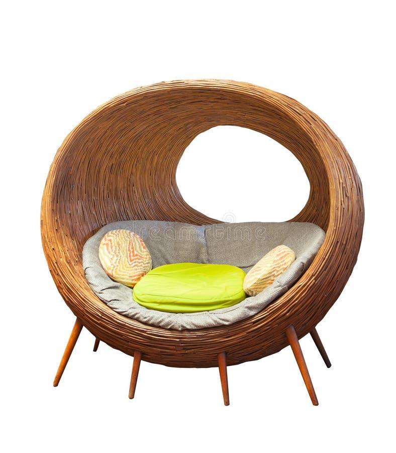 Cadeiras de vime redondas do pátio do Rattan para a sala de visitas home decorada imagens de stock