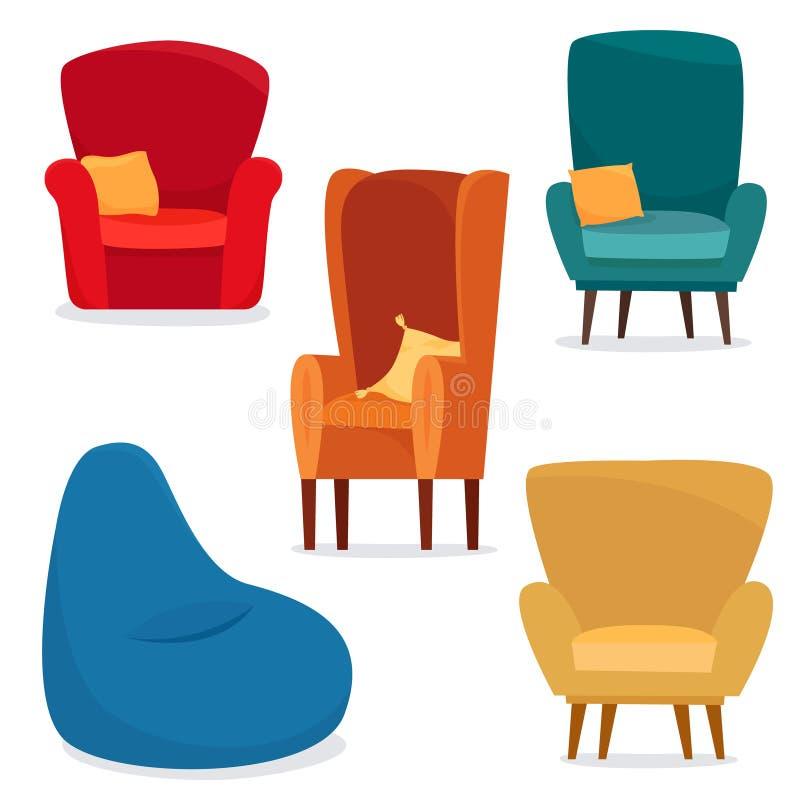 Cadeiras diferentes ajustadas com a cadeira do saco do anf do descanso ilustração do vetor