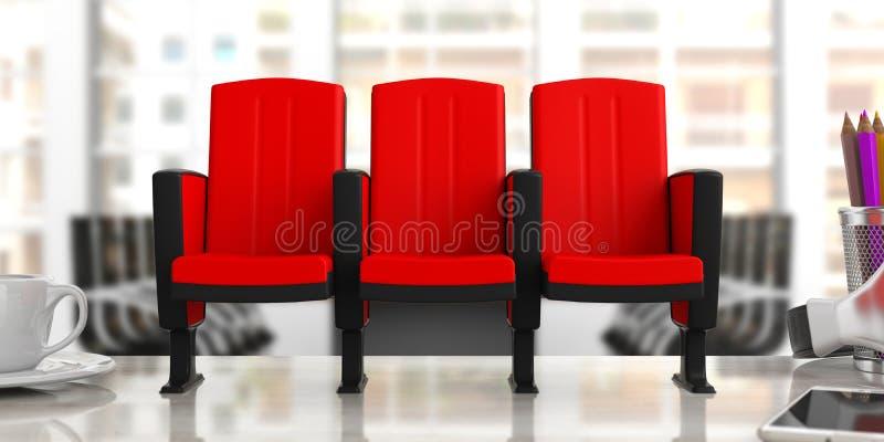 Cadeiras do cinema no fundo do escritório do borrão, vista dianteira ilustração 3D ilustração do vetor