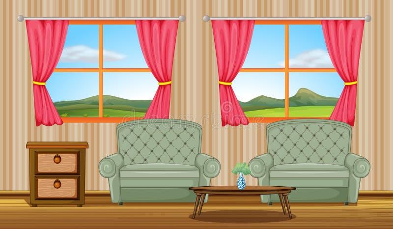 Cadeiras do coxim e tabela lateral ilustração royalty free
