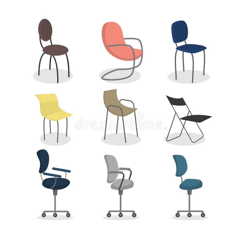 Cadeiras do escritório ajustadas ilustração stock