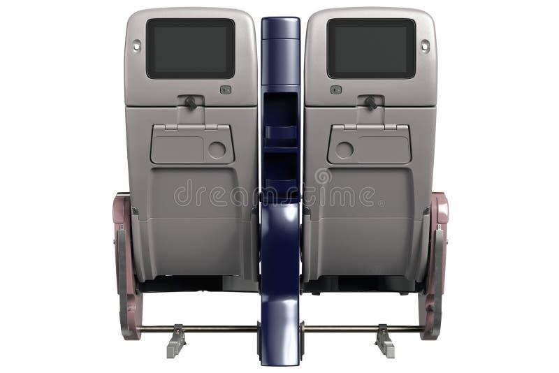 Cadeiras dos aviões com tela, vista traseira ilustração do vetor