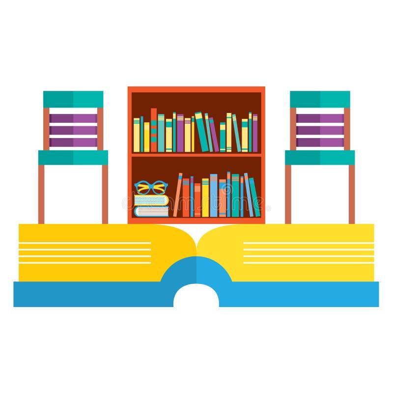 Cadeiras e biblioteca coloridas no livro enorme ilustração royalty free