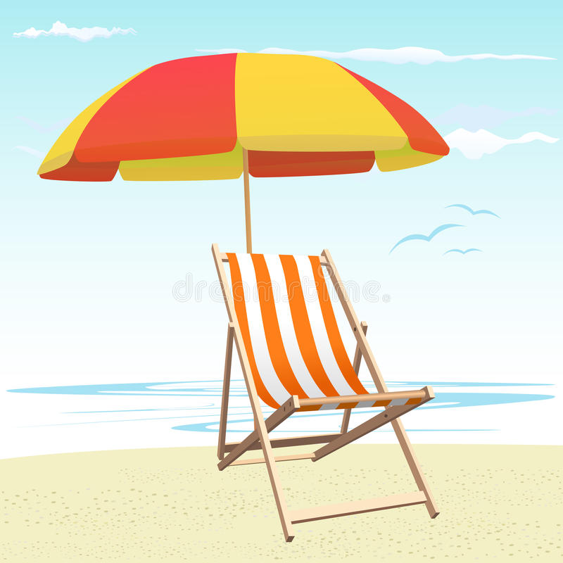 Cadeiras e guarda-chuva de praia ilustração royalty free