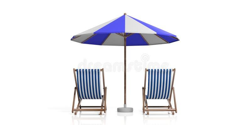 Cadeiras e guarda-chuva de praia no fundo branco ilustração 3D ilustração royalty free