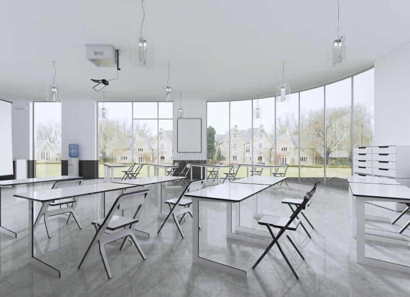 Cadeiras e mesa da leitura em uma sala de classe com janelas panorâmicos ilustração do vetor