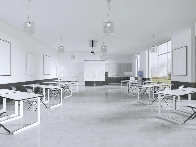 Cadeiras e mesa da leitura em uma sala de classe com janelas panorâmicos ilustração royalty free