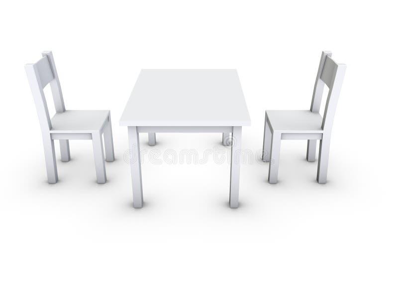 Cadeiras e tabela ilustração stock