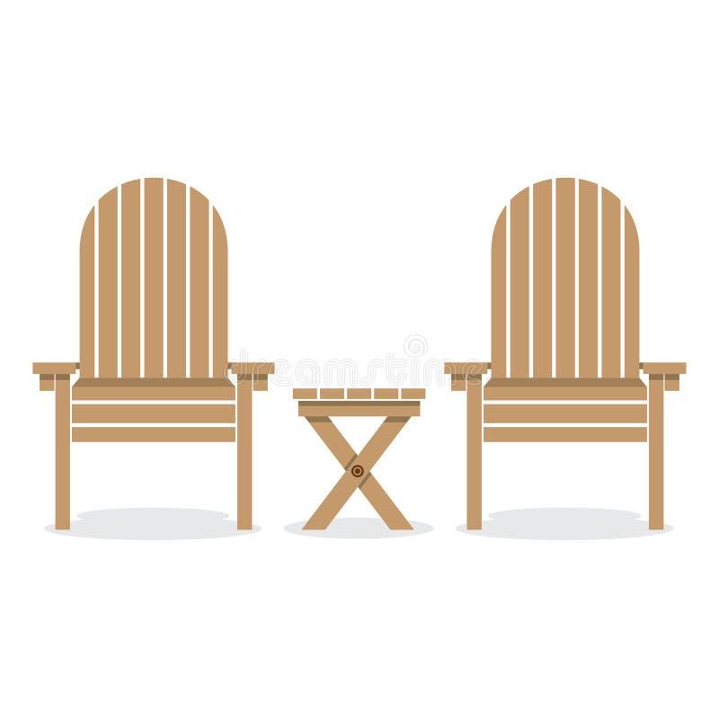 Cadeiras e tabela de madeira de jardim ilustração royalty free