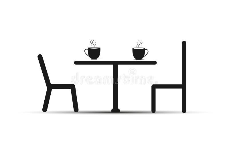 Cadeiras e uma tabela, na tabela com um copo do chá ou do café, projeto liso ilustração do vetor