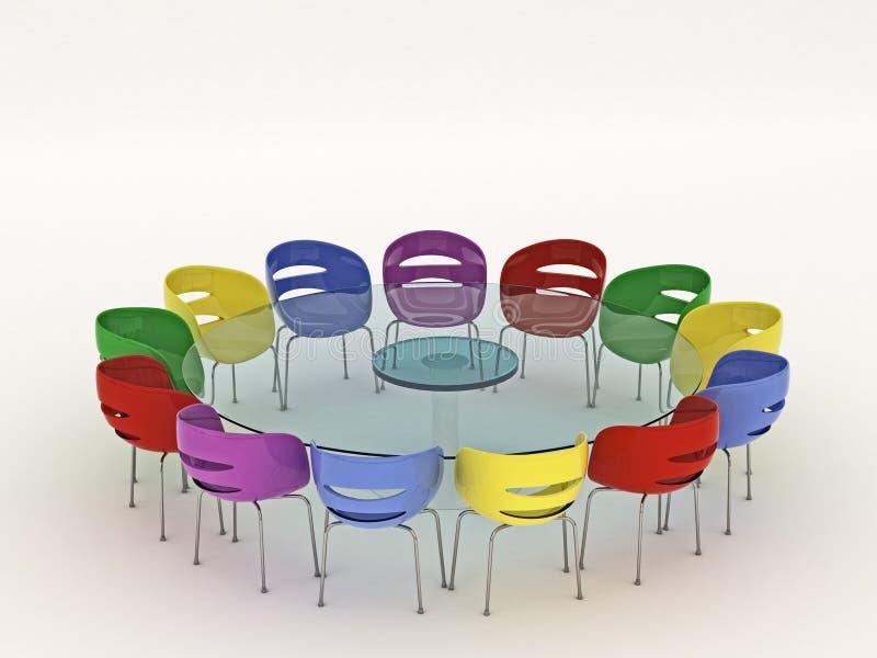 Cadeiras em torno da tabela ilustração do vetor