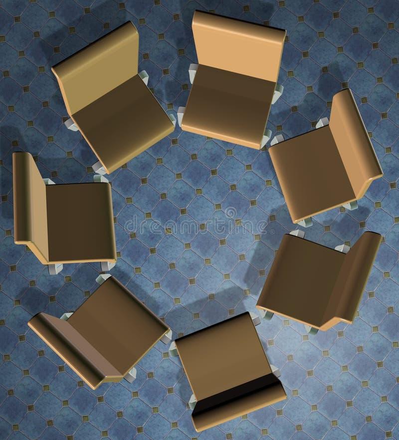 Cadeiras em um círculo ilustração do vetor