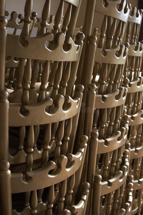 Cadeiras empilhadas imagem de stock