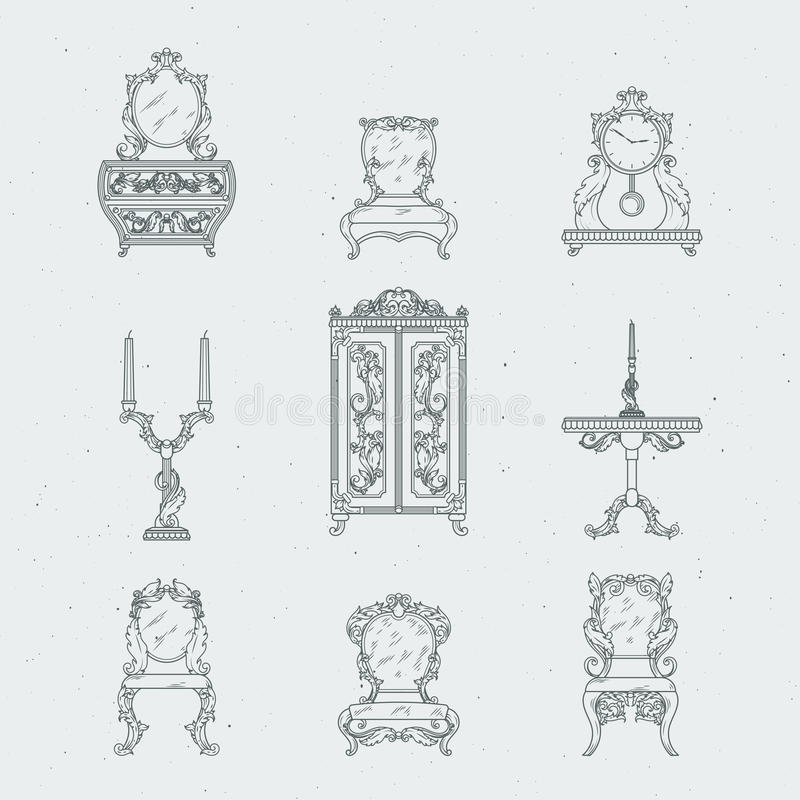 Cadeiras home da mobília antiga, armário, tabela de cabeceira, espelho Ilustrações do desenho da mão do vetor no estilo barroco ilustração do vetor