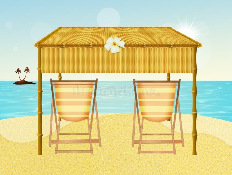 Cadeiras na praia ilustração do vetor