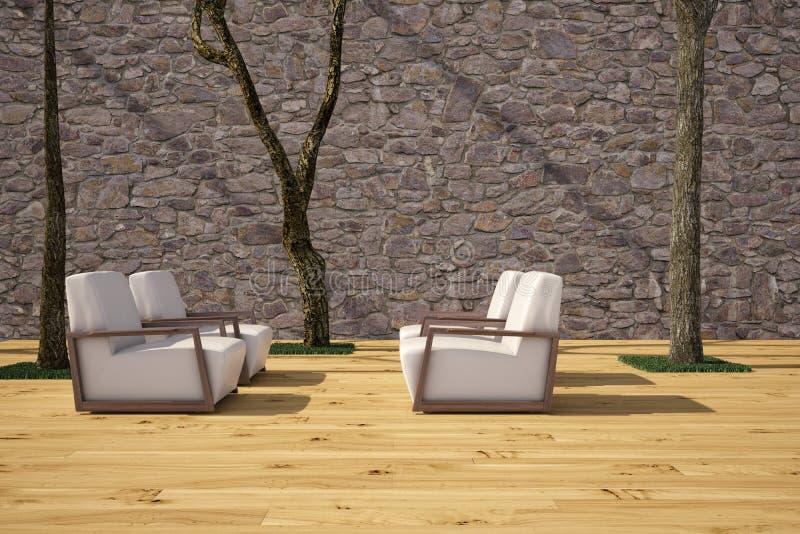 Cadeiras no terraço ilustração royalty free