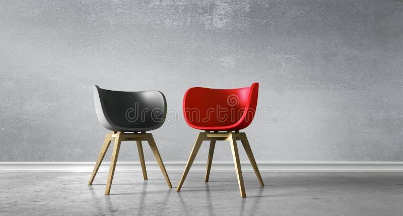 Cadeiras opostas em uma sala - discussão do conceito ilustração royalty free