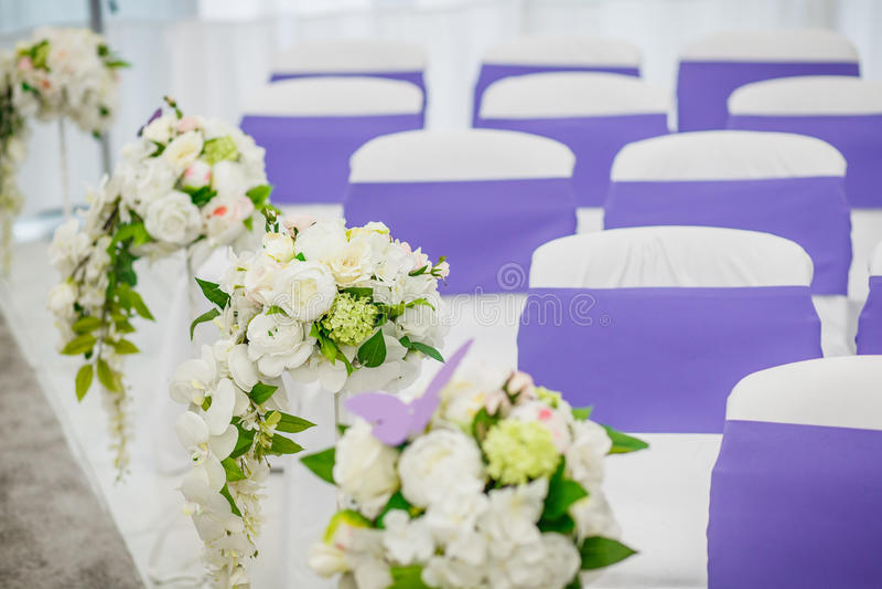 Cadeiras para o convidado no casamento fotografia de stock royalty free