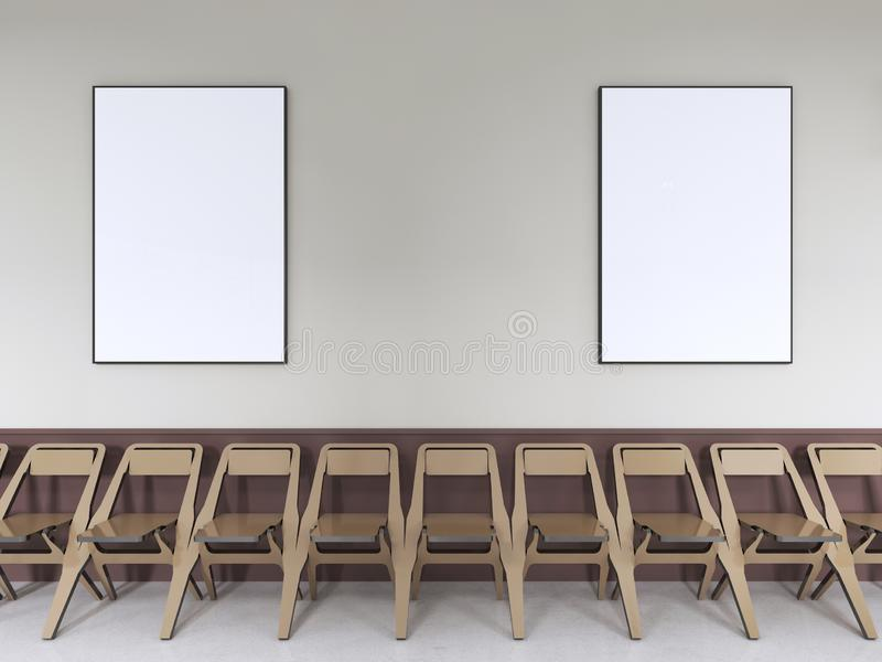 Cadeiras perto da parede para a sala de aula com cartazes informativos ilustração royalty free